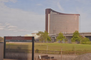 Nearing the end of the journey, you're greeted by Encore Casino.