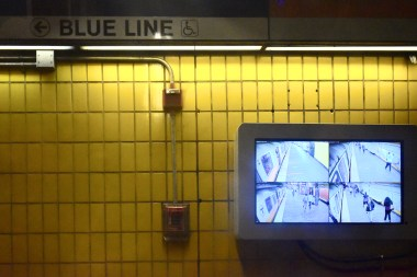 Security cameras surround the MBTA stops.