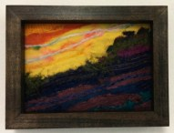 M Ressler, Evening Landscape, needle felting, 5 x 7""