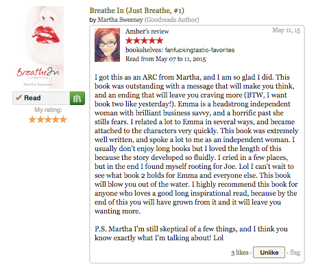 Breathe In Book Review by Amber on Goodreads.comBreathe In Book Review by Amber on Goodreads.com