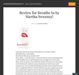 Breathe In Book Blogger Review