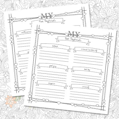 My Book Boyfriends free printable from Bookish Adult Coloring Book