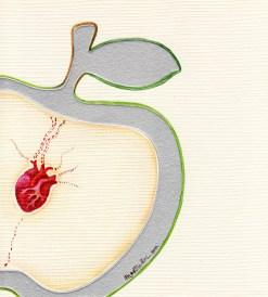 Manzana sintiente (acrílico sobre papel tapiz) VENDIDA