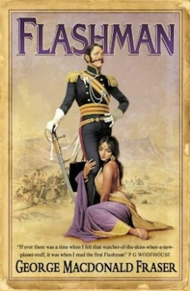 Flashman, by George Macdonald Fraser - a typical cover, with heroic Harry and a nubile conquest