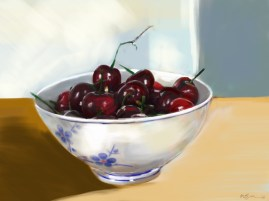 16 Cherries in a Chinese bowl