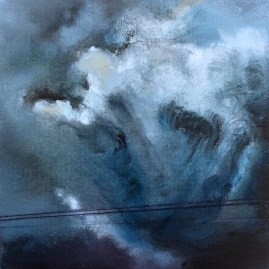 Title: Triptych III - Storm clouds outside Torrington, Alberta, Canada, 8 x 8 x 1.5 inches, 20.3 x 20.3 x 4.0 cm, acrylic on canvas, gallery-wrap, completed July 2016