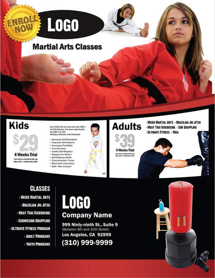 Martial Arts Flyer 8 5 X 11 #MA000501