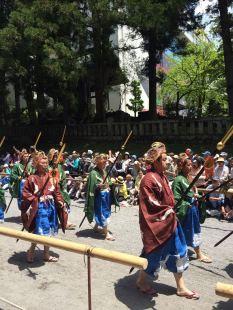 Each group samurai are in authentic costume