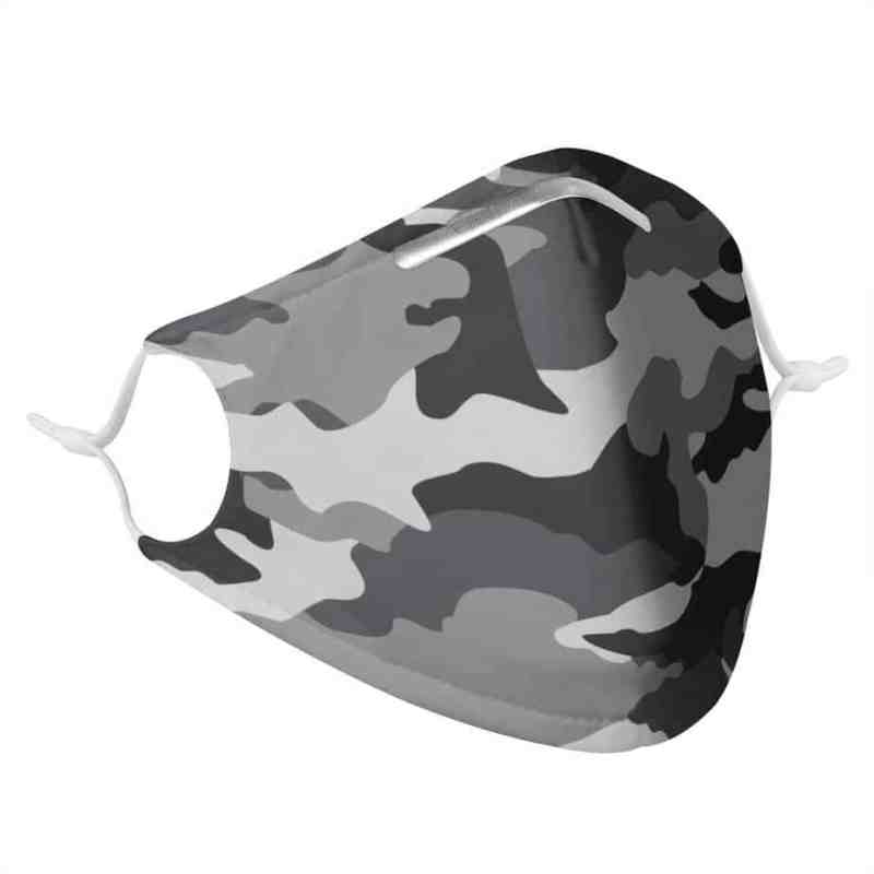 GRAY CAMO -  MASK WITH (4) PM 2.5 CARBON FILTERS