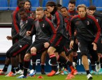 AC Milan's players attend a training session at the stadium Petrovsky in St.Petersburg