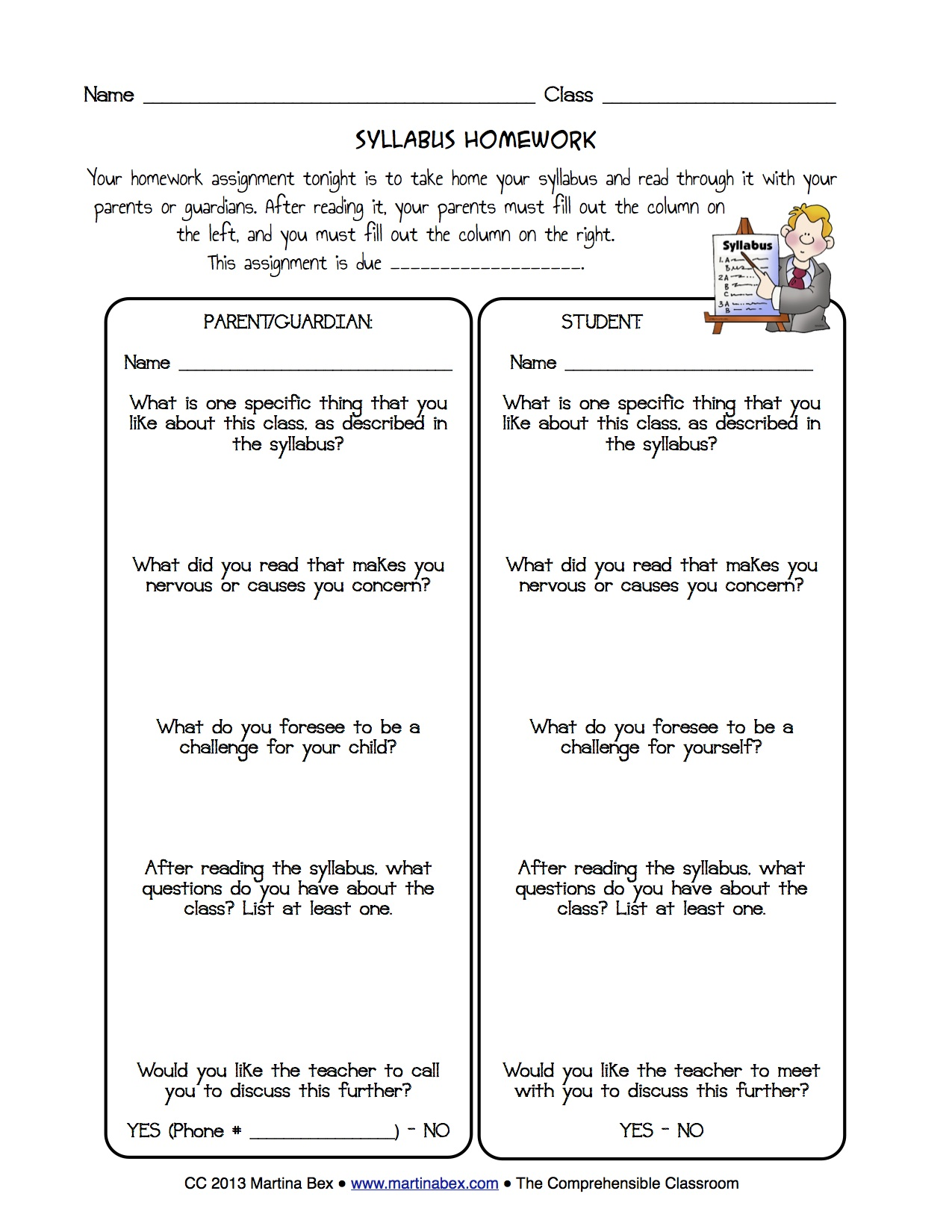 Syllabus Homework The Comprehensible Classroom