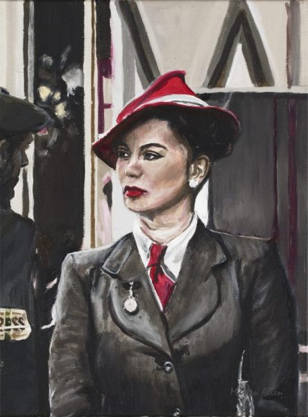 Portrait painting of a woman in red hat at Goodwood