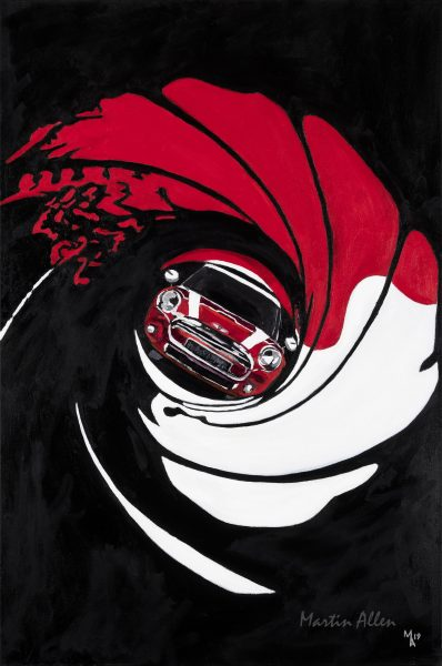 Red Gun Mini Car painting, original oil on canvas 24 inches x 36 inches. Mini Cooper meets James Bond with a mash up. Inspired by two of my favorite movies - The Italian Job and James Bond, I came up with a meld and mash up between the two.