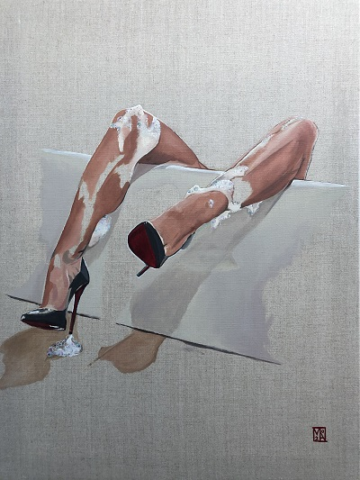 Oops can anyone help me find the soap? - fine art painting