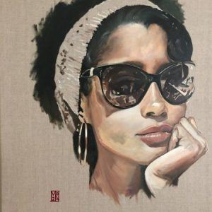 Perception, An fine art original portrait oil on canvas painting and art prints by emerging London artist Martin Allen. One of a new series of thought provoking paintings depicting the alluring @djadja.
