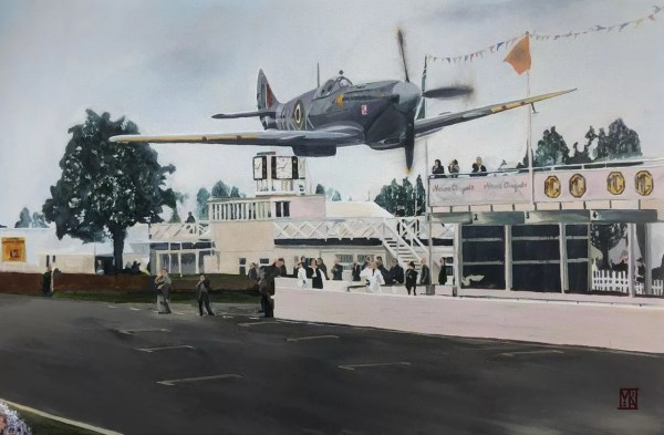 Ray Hanna Spitfire low pass Goodwood 98 fine art limited edition A2 print