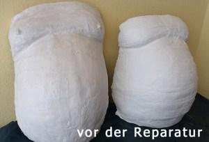 von einer Kundin selbstgemachte Babybauch-Abformungen vor der Reparatur