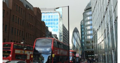 London city street, Gherkin and doubledecker, London, UK