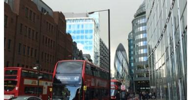 London city street, Gherkin and doubledecker, London, UK