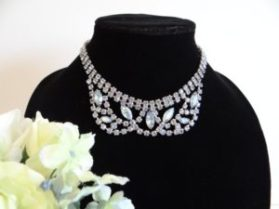 Weiss blue rhinestone necklace photo