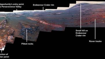 pia 22908 legacypan annotated nasa2 Panorámica de Despedida del Rover Opportunity en Marte
