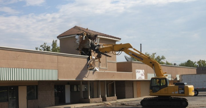 Gone! The former retail properties at 103rd and Wornall have been demolished