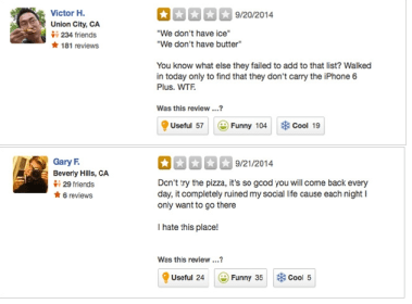 sarcastic bad reviews on yelp that are really good