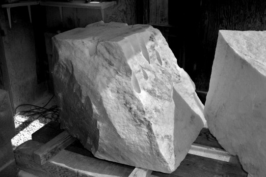 Workshop, rough block, Sculpture Garden Swan Wave, The Maiden Collection, Colorado Yule Marble by Martin Cooney