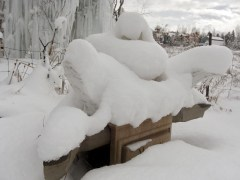 """Snowy Sculpture Garden, Port """"Thing One"""", Starboard """"Thing Two"""", The Maiden Collection, Colorado Yule Marble Sculpture by Martin Coooney"""
