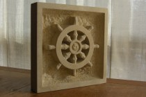 Dharma Wheel, Kansas Creme Limestone by Martin Cooney