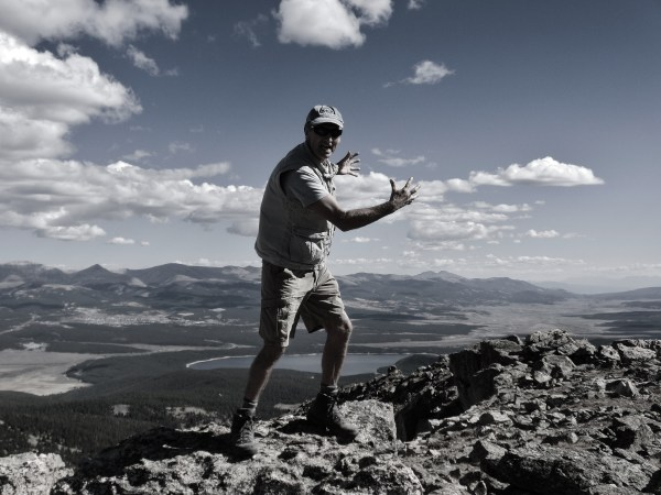 Martin Cooney, top of Galena Mountain, Two day hikes from Uncle Bud's Hut, Late September, Colorado, 2014