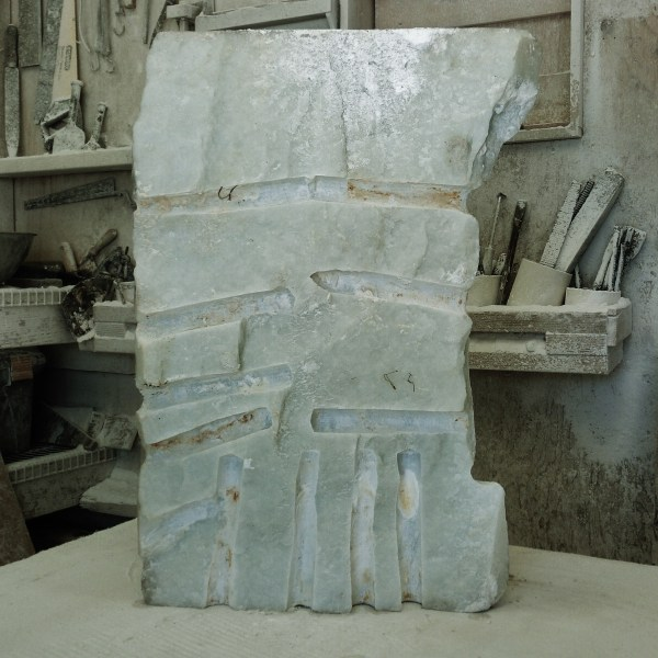 Splitting Girl in the Moon, Hand Carved Marble Mask, by MARTIN COONEY, rough block.