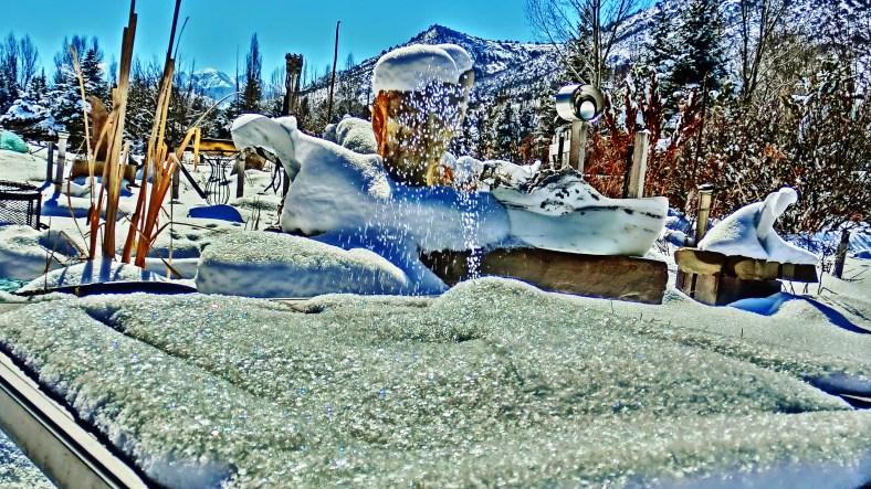 'Dreadnought', Solar Fountain, Snow Sculpture, The Sculpture Garden by MARTIN COONEY, Woody Creek, Colorado