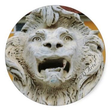 The Tortured Lion of Massa, Round Sticker, Glossy