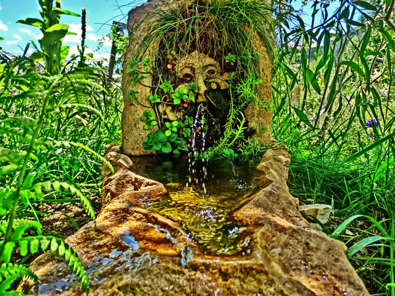 Green Man Solar Fountain, Ice Palace Arbor