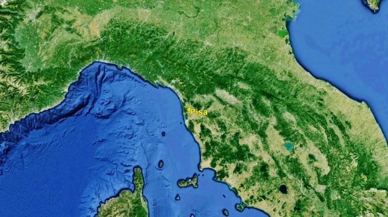 Pisa, from space by Google Earth.