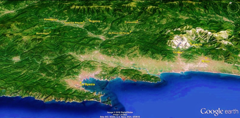 Bagnone to Fivizzano Map 1 Google Earth