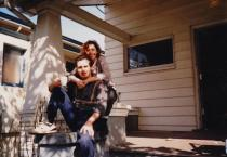 Martin and Kris Cooney on the porch of their SE Portland Home, Oregon