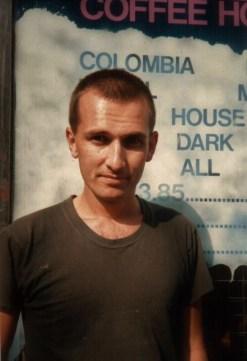 Martin Cooney outside The Garbanzo Coffee House, Angel Islington, London, England, UK
