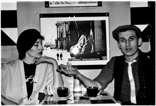 Martin Cooney, with Kris, The Garbanzo Coffee House, Angel, Islington, London, UK mid 1980s