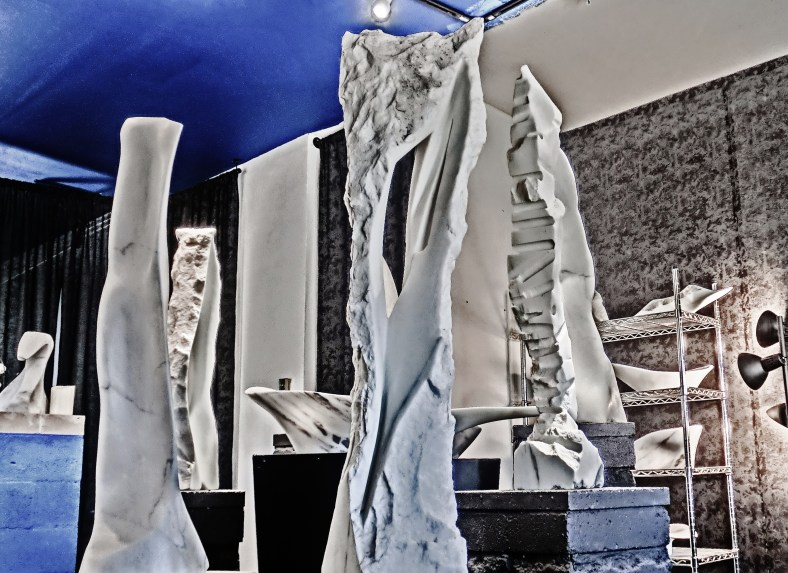 Wolf Man Jack, Inner Strength, Cat Walk, 1718 Winter Show, Colorado Yule Marble Sculpture by Martin Cooney, KMJ COONEY GALLERY, Aspen, Colorado