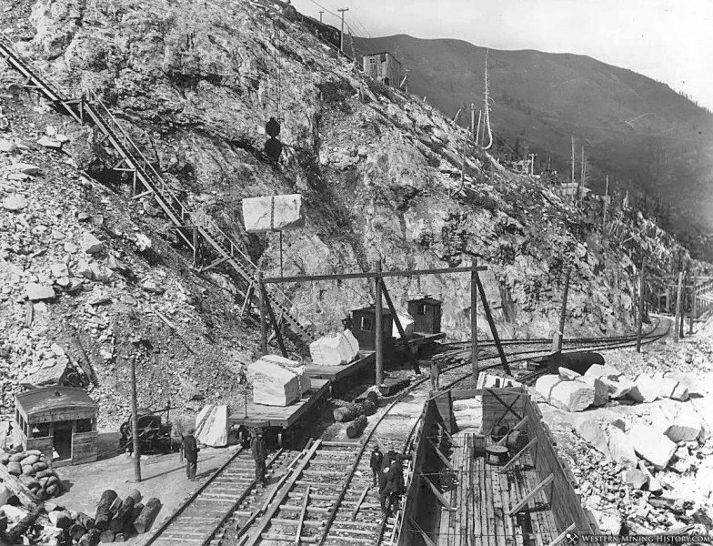 Yule Marble Quarry, loading electric tran railcars 1,