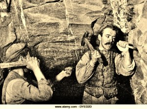 Miners, hammer away at work, Alamy, stock photo, dated 1890
