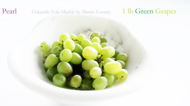 Pearl with Green Grapes, Colorado Yule Marble Sculpture by Martin Cooney