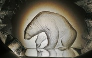 Etched Glass Polar Bear, 'Ice Boat' by Martin Cooney, Woody Creek, CO