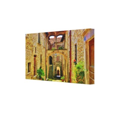 Castle di Malgrate Courtyard, Wrapped Canvas Print, right
