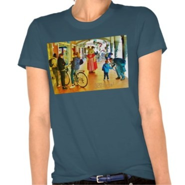 Lost Rabbit Roams Pisa Arcade, Women, American Apparel Organic T-Shirt, Front, Galaxy,