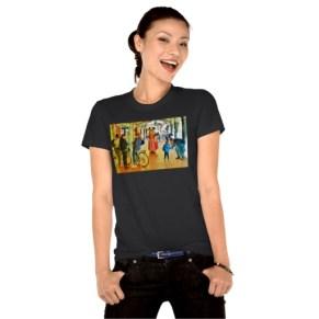 Lost Rabbit Roams Pisa Arcade, Women, American Apparel Organic T-Shirt, Front, Model, Black