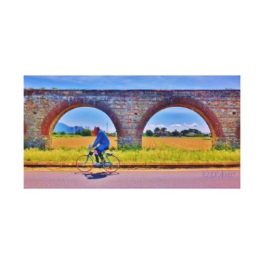 Luccan Aqueduct Road Bicycle, Wrapped Canvas Print, 26 x 13.5, center
