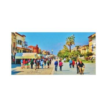 Promenade Parade Viareggio, Wrapped Canvas Print
